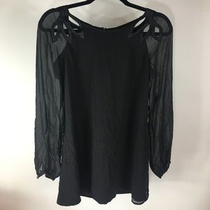 Marciano Black Blouse with Sheer Sleeves